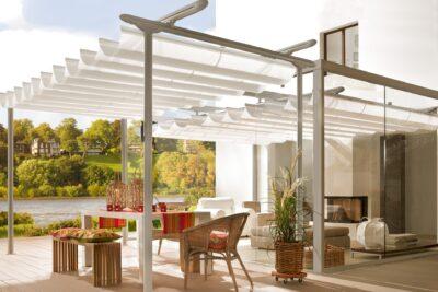 Erwilo freistehende Markise - Sonnenschutz weiss - Verschattung patio geschlossen (660-4)